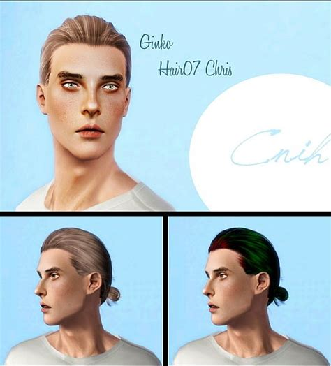 man male bun sims 3 ginko hairstyle for him 07 chris retextured by cnih sims