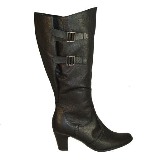 boots for big leg adjustable calf wide leg fit boots black ebay