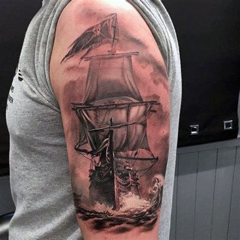 upper arm guys nautical realistic pirate ship tattoo