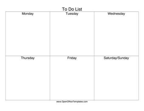 Weekly To Do List Openoffice Template Open Office Checklist Template
