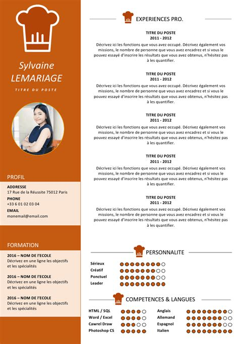 cv design hotellerie cv restauration h 244 tellerie abdos pinterest
