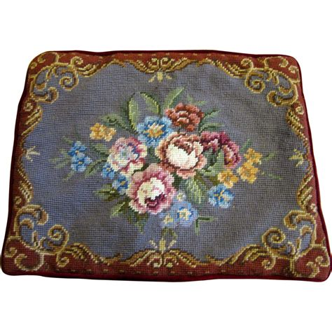 classic wool needlepoint bouquet pillow cover from