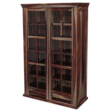Solid Wood Rustic Glass Door Large Storage Cabinet Storage Cabinets With Doors Wood