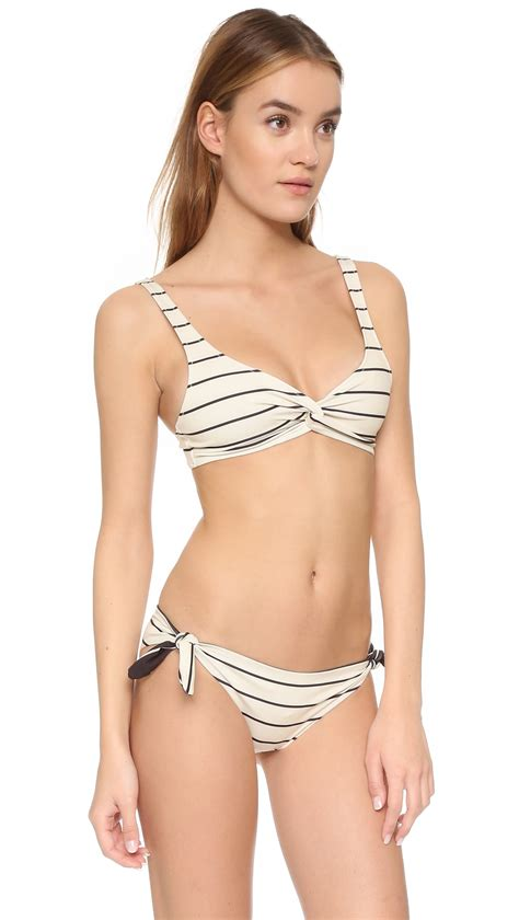 Kaos Stripe Seli Top lyst solid striped top in black