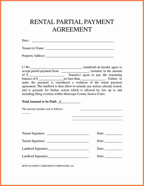 Sle Letter Of Agreement To Pay Rent 5 Payment Agreement Template Marital Settlements Information