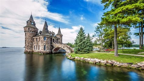 architecture castle ancient nature trees landscape clouds new york state usa water