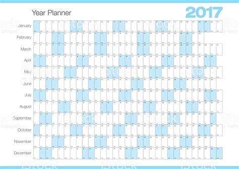 Calendar Planner Calendar Year Planner 2017 Chart Stock Vector
