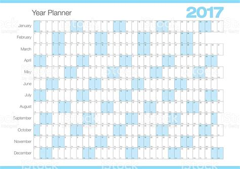 Kalender 2017 Planer Calendar Year Planner 2017 Chart Stock Vector