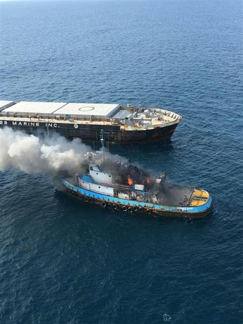 boat salvage clearwater video tugboat catches fire off florida