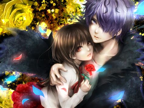 Wallpaper Couple With Rose | single rose anime couples wallpapers theanimegallery com