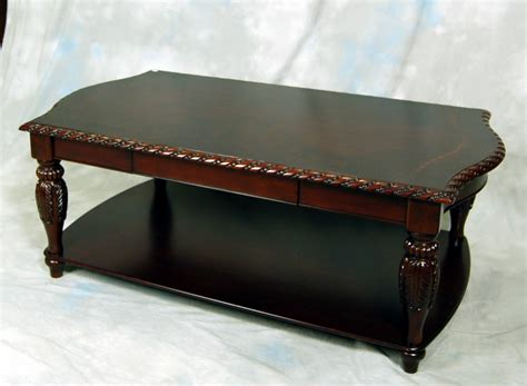 brown carved mahogany coffee table and 2 end table set ebay