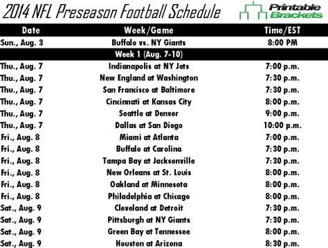 printable nfl preseason schedule 2014 nfl preseason schedule nfl preseason schedule 2014