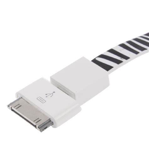 Zebra Iphone To Usb Extension 2 in 1 zebra texture noodle bracelet style micro usb to usb sync data charging cable 30 pin