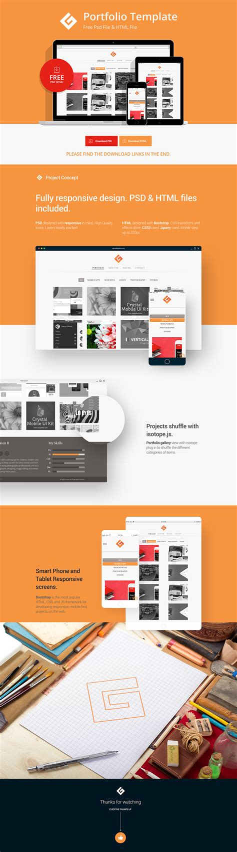 Portfolio Template Psd Html Free Download On Behance Free Ux Portfolio Template