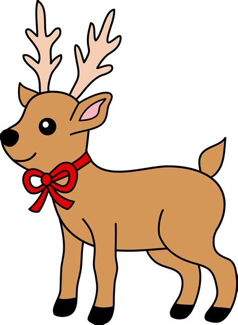 christmas reindeer with red ribbon free clip art