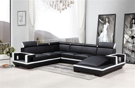 Modern Leather Sectional Sofa by Divani Casa 5102 Modern Black White Bonded Leather