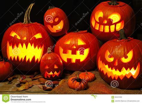 halloween night scene   group  jack  lanterns