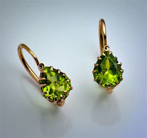 Antique And Vintage Earrings Russian Peridot Gold