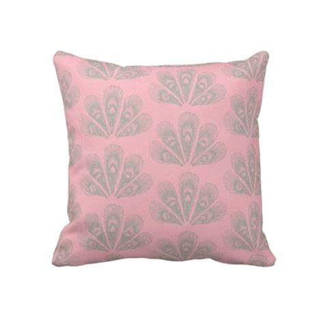 Pink And Gray Throw Pillows Pink And Gray Peacock Throw Pillow