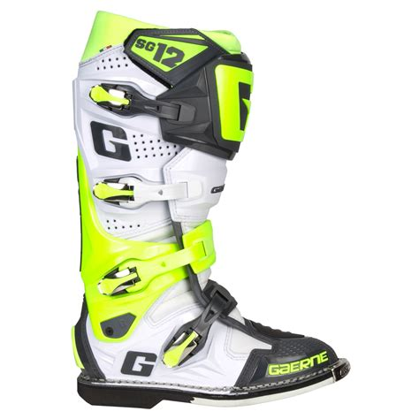gaerne sg12 motocross gaerne mx boots sg 12 white fluo yellow grey limited