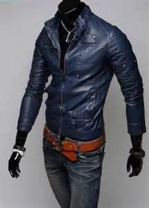 Cowhide Vest Navy Blue Leather Jacket Men S Men Slim Fit Biker Jacket