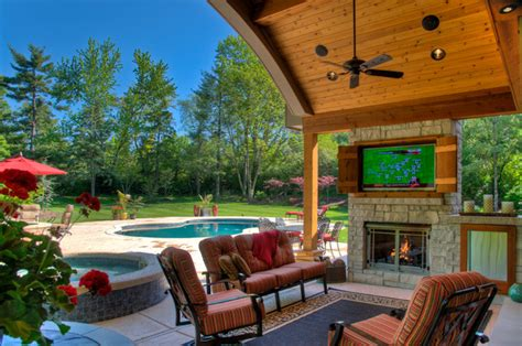 tv outside patio outdoor living rooms traditional patio st louis by heartlands building company