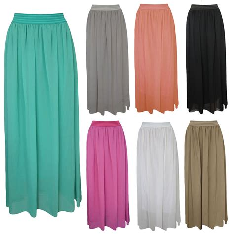 womens sheer chiffon elasticated waist maxi
