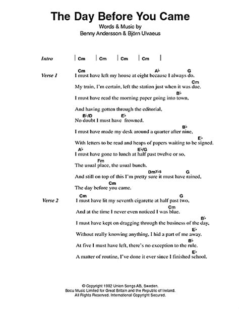 s day came early lyrics the day before you came sheet by abba lyrics