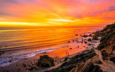 sunset malibu beach california usa faces and places and things sunset on malibu beach california hd wallpapers