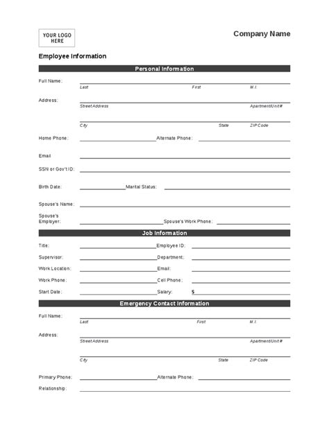employee information form template free templates forms employee personal information form