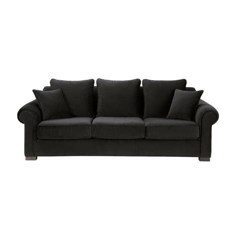 sofa in black velvet seats 3 4 claridge claridge