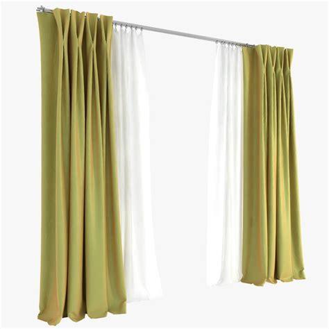 double pleat curtains curtains double pinch pleat 3d model