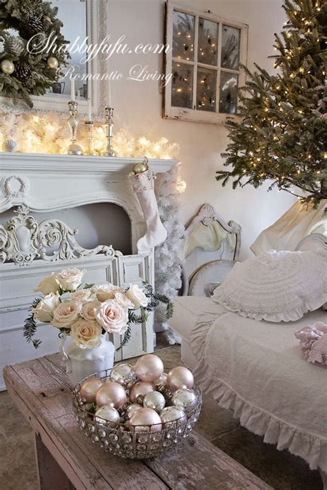this shabby chic living room decorated for christmas is stunning a simple christmas tree glass