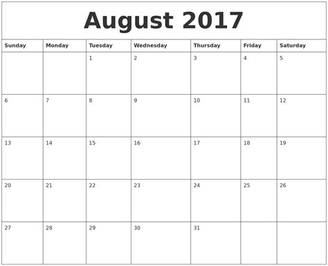 online blank calendar free august 2017 online printable calendar