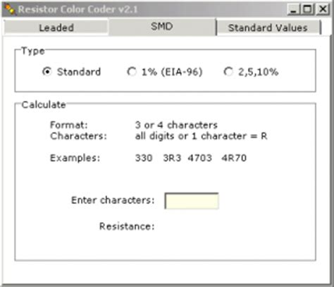 smd resistor code calculator software အ က နည ပည software