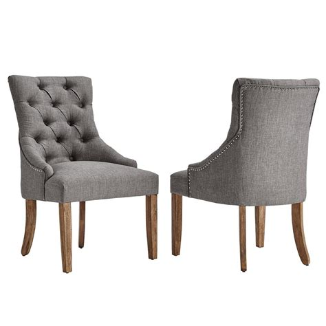 Linen Tufted Dining Chairs Homesullivan Marjorie Grey Linen Button Tufted Dining Chair Set Of 2 40e217c Gl2p The Home Depot