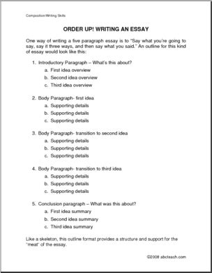 essay outline template for high school 14 best images of middle school essay outline worksheet