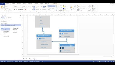 how to draw database diagram in visio visio 2013 database diagram crows foot notation