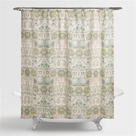 shower curtain paisley green paisley cordelia shower curtain world market