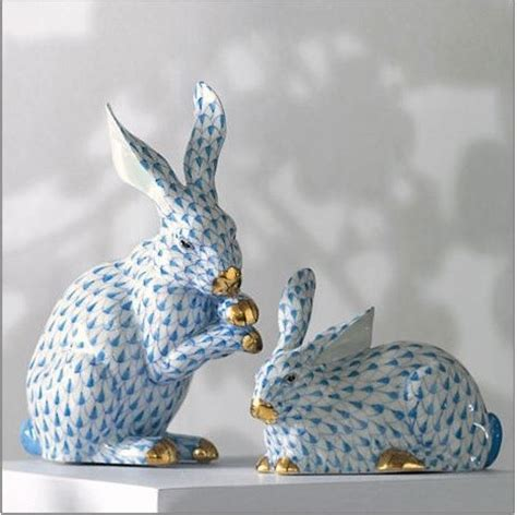 Bunny Rabbit Home Decor Herend Porcelain Bunnies Traditional Home Decor By Gump S