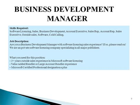 business development description auto business development description