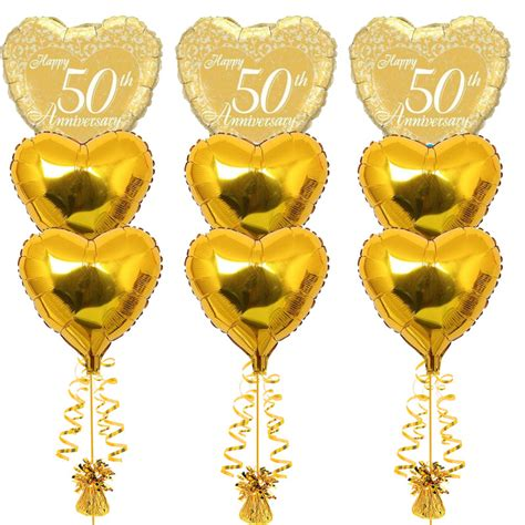 Balon Foil Special Wedding 3 Bouquets Of 50th Anniversary Foil Balloons Balloons Co Uk