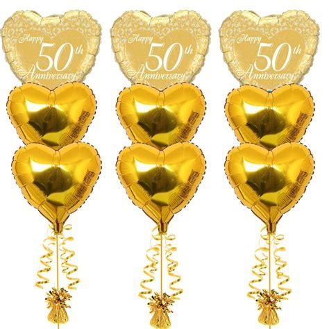 3 Bouquets of 50th Anniversary Foil Balloons   Balloons.co.uk