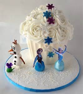 frozen inspired giant cupcake with fondant olaf anna elsa flickr