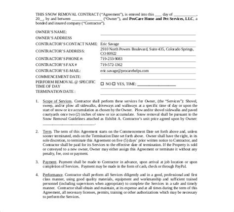 Free Snow Removal Contract Templates snow plowing contract template 20 free word pdf