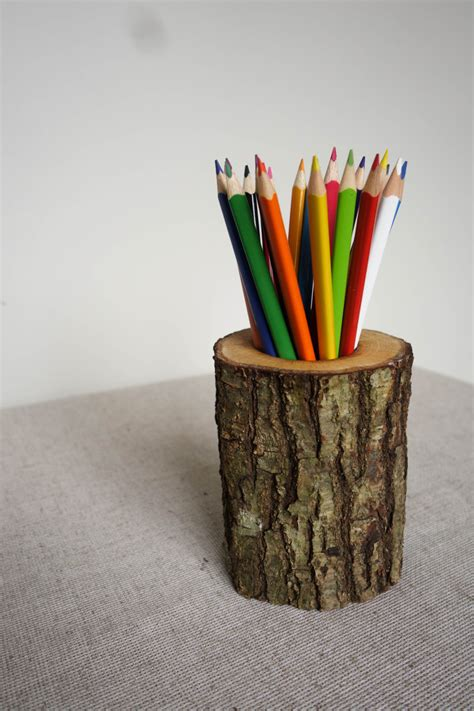 pencil holder for desk oak pencil holder log desk organizer wood pencil holder
