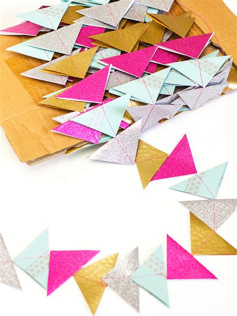 Make Your Own Paper Garland - hearts diy paper triangle garland tree