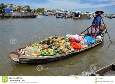floating boat market mekong delta floating market vietnam editorial stock
