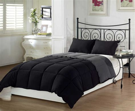 The Chezmoi Black Grey Super Soft Goose Down Comforter Set