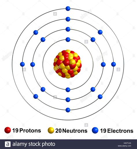 diagram of potassium atom 3d render of atom structure of potassium isolated